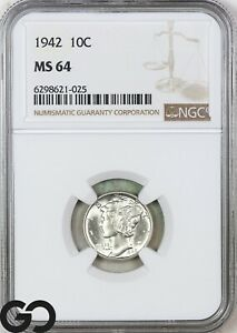 1942 MS64 Mercury Dime NGC Mint State 64 ** Blast White!
