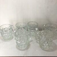 Vintage Set Of 6 Winston Cigarette Dimple Thumbprint Glass Mugs Cups