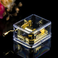 Portable Clear Music Box Hand Crank Mechanical Music Box Musical Toy Party Gift