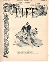 1894 Life February 8 - Lent begins; Why do women wear high hats at the theatre?