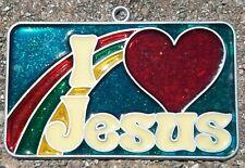 Vintage Suncatcher Religious I Love Jesus Window Decoration Ornament