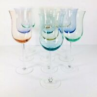 "10 Spectrum Hand Blown Crystal Wine Goblets 9 1/8"" Assorted Pastel Glasses 10 oz"