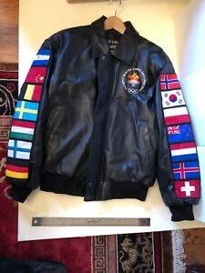 2002  Salt Lake City Winter OLYMPICS official Leather Jacket  Coat flags