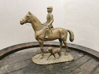 Vintage Large Brass Hunting Horse And Hound Statue