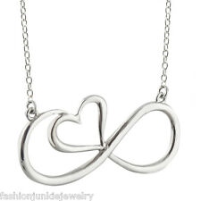 Infinity Necklace - 925 Sterling Silver - Infinity Sign with Heart Jewelry NEW