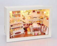 Dollhouse Miniature DIY Kit w/ Light Happy Bakery Cake Store Shop Romantic Model