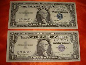 USA Silver Certificates, Series 1957A $1 & 1957B $1, 2 pieces Crisp UNC