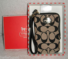 COACH Khaki Black Signature Universal Case With Coach Gift Box 68139