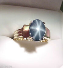 GENUINE BLUE STAR SAPPHIRE 4.11 CTS  with MOTHER OF PEARL 14K GOLD RING