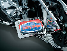 KURYAKYN CURVED SIDE MOUNT CHROME LICENSE PLATE FOR HARLEY OR METRIC MOTORCYCLE