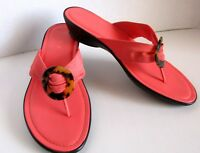 Italian Shoemakers Womens Sandal Coral 7.5 Slip On Split Toe Wedge Heel Cloth