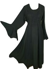 Boho Maxi Dress Full Sleeve Viscose Black Scalloped Hem Corset One Size 16 18 20