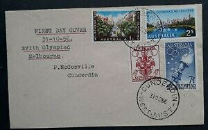 1956 Australia Melbourne Olympic Games FDC Local Cunderin W.A. Used