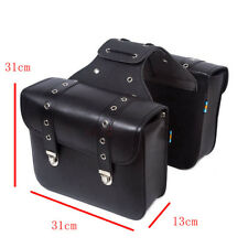 Studded Faux Leather Motorbike Panniers SaddleBags Motorcycle Luggage Bags Black