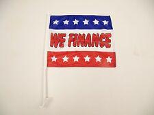 2 Premium Dealership Advertising Window Car Flags (2) We Finance Flags
