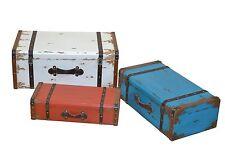 Deko Koffer-Set 3 tlg. weiß blau rot Truhe Kiste Dekoration Holz Vintage