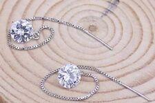 Rhinestone Clear long drop earrings Pierced Ears Silver toned