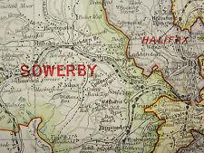 1920 COUNTY MAP of YORKSHIRE SOUTH WEST ~ SOWERBY WENTWORTH ELLAND HALIFAX etc