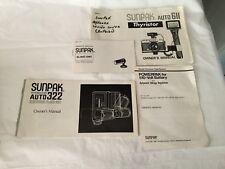 Vintage Sunpak manuals -Thyristor Auto 322 and 611 , slave unit, battery pack