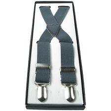 Herren Grau 2.5cm Elastisch Einfarbig Hosenträger Verstellbar Strapse 4 Klemme