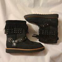 Women's COACH Black Roccasin Fringe Studded Suede Boot black sz 8 & 9 Msrp $375