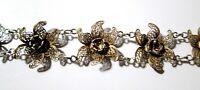 Vintage Filigree Bracelet Sterling Silver 1950's Portugal Flowers