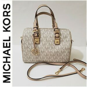 Michael Kors Grayson Medium Chain Satchel Vanilla Leather & Bag Charm MRSP $328!
