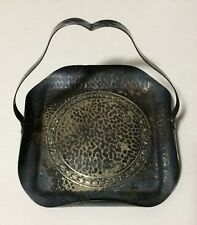 "5"" x 5"" Metal Hammered Tray w/Handle Flat Basket Tarnished"