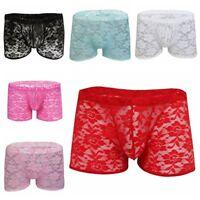 Men Sheer Lace  Floral Boxer Briefs Underwear Swim Shorts Lingerie Sissy Panties