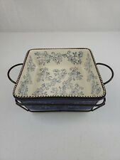 Temp-tations 3 PC Blue Floral Lace 1.5 Qt Square Baking Dish Wire Holder Trivet