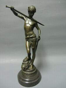 Alte Bronze Skulptur David und Goliath signiert