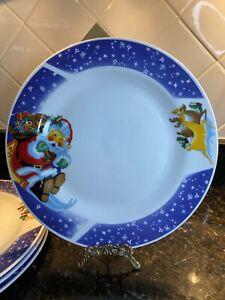 Set of 4, Housewares International - Christmas Dinner Plates - Santa & Reindeer