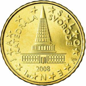 [#724316] Slovénie, 10 Euro Cent, 2008, SPL, Laiton, KM:71