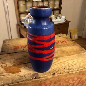 Vintage West German Pottery Vase – Blue & Red - Scheurich 210-18 – Retro! –