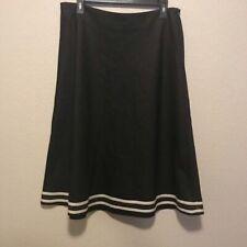 Willi Smith Black A-Line Midi Ribbon Hem Skirt 12