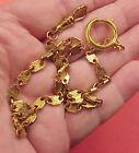 Vintage Fancy Brass Textured Arts Crafts Link Mans Pocket Watch Chain 14 inch