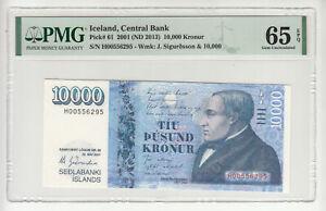 Iceland 10 000 kronur 2001/2013 UNC p61 PMG65 @ low start