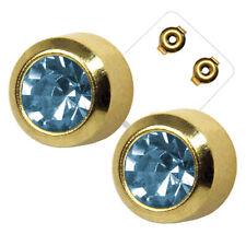 1 Pair Studex Medicinal Steel Stud Earring Aquamarine Surgical Yellow