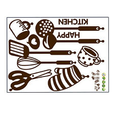 Home Supplies Happy Kitchen PVC Mural Decal Removable Wall Decor Art Stickers CA
