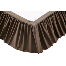 """CARRINGTON BROWN SOLID TWIN BED SKIRT 16"""" DROP COTTON FABRIC GATHERED"""