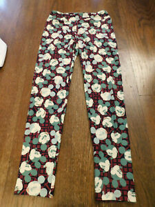 LuLaRoe Leggings OS Disney Collection Mickey Mouse Face Winking Red Blue Green
