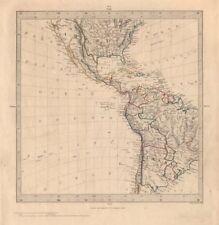 AMERICAS. Gnomonic Projection. Texas Republic borders. Mexico USA. SDUK 1846 map