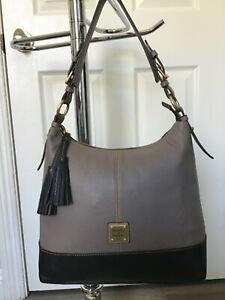DOONEY & BOURKE LARGE GRAY / TAUPE WITH BLACK BOTTOM RARE LEATHER LINED READ!