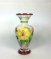 Hand Blown and Painted Floral Glass Bud Vase
