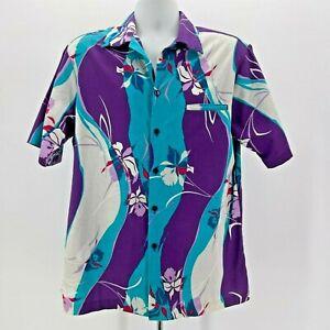 Hilo Hattie Purple Blue Floral Hawaiian Shirt Mens XL