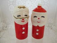 Vintage Round Cylinder Mr. and Mrs. Santa Clause Holiday Salt Pepper Shakers