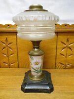 Antique Kerosene Lamp Base - Floral Glass Insert