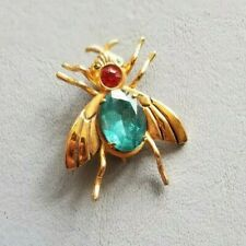 Coro Pegasus Brooch Vintage Antique Turquoise Gold Rhinestone Fly Bug Pin