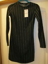 Bershka Dress size M Black with gray strips NEW WITH TAGS.