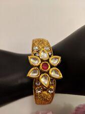 Kundan Polki Antique open Bracelet Gold Plated